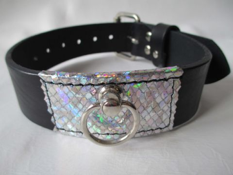 Black leather with Holographic Unicorn leather front detail Collar